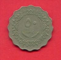 F3697A / - 50 Dirhams  - 1395 / 1975  - Libia Libya Libyen Libye Libie - Coins Munzen Monnaies Monete - Libye