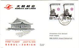 Seoul Zurich 1976 Via KAL - Inaugural Flight - 1er Vol Erstflug - Suisse - Corée Korea - Korea (Süd-)