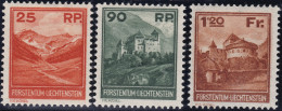 Liechtenstein 1923 Satz Landschaftsbilder Zu#98-100 * Falz - Liechtenstein