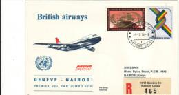 Genève ONU UNO Nairobi 1976 Via Boeing British Airways - Inaugural Flight - 1er Vol Erstflug - Kenya Suisse - Kenia (1963-...)