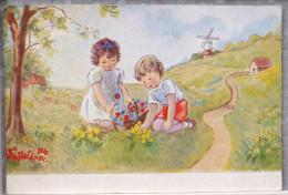 LITHO Illustrateur OUR KIDDIES 5016 AEW A.E.W. Richardson ? Duo Enfants Cueillant Fleurs Chemin Moulin Voyagé 1918 - Illustrateurs & Photographes