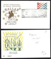 LOT 4 LETTRES  ILLUSTRÉES ROTARY INTERNATIONAL- USA - DIVERS DISTRICTS- CAD DE 1959- 1977- 1982- 2 SCANS - Rotary, Lions Club