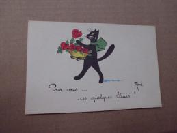CHAT NOIR ET FLEURS...SIGNE RENE. - Andere Illustrators