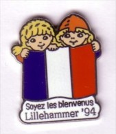 JO  LILLEHAMMER  94  -  Drapeau FRANCE  Soyez Les Bienvenus - Olympic Games