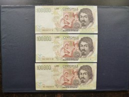 Italie beau lot de 3 billets de 100.000 Lire 1994 qualit� FDC (non circul�)