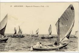 Carte Postale Ancienne Arcachon - Régates De Pinasses à Voile - Bateaux, Voiliers - Arcachon