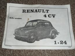 Ancienne Notice De Montage De Maquette Voiture RENAULT 4 CV 1/24e Heller Humbrol Jouet Jeu Ancien 4cv - Sonstige