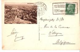 """Roma-1934-Targhetta """"Mostra Rivoluzione Fascista Riduzioni Ferrov. 70%""""-Cartolina-Roma-Roma- Villa Borghese-Fontana - Poststempel"""