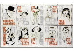 [DC0039] CARTOLINEA - MOLTO RARA - RIPRODUZIONE FRANCOBOLLI U.S.A. - CENTENARIO DEL CINEMA CELEBRI ATTORI IN CARICATURA - Briefmarken (Abbildungen)