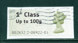 GREAT BRITAIN  -  2008  Post And Go  1st Class Up To 100g  Used On Piece As Scan - Post & Go Stamps