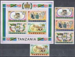 K 474  TANZANIA    XX  YVERT NRS  85/88 + BLOK 8 - Stamps
