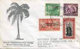 NEW ZEALAND (WESTERN SAMOA) 1946 - Traumhafte 4 Fach Frankierung, Western Samoa > London - Ohne Zuordnung