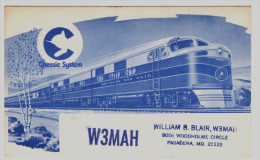 RADIO QSL - USA - PASADENA - Train Chessie System - Radio Amateur