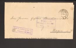 """DR Brief V.1919 Aus Eisenach N. Hagen M.Stempel """"frei Lt.Ablösung Nr.15"""" 2 Bilder - Officials"""