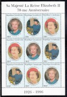Central African Republic MNH Scott #1124 Minisheet Of 3 Strips Of 3 300fr Queen Elizabeth´s 70th Birthday - Familles Royales