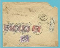 Brief vanuit (France) , getaxeerd (taxe) met TX 35+37+47 stempel QUIEVRAIN (taxe 3,50Fr) !! stempel TAXE ANNULEE ..(Rare