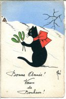 CHATS - Illustration - Porte-bonheur De La Collection Chats De René - Chat Noir Ruban Rouge Et Gui - Carte Canson - Cats