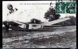 M. DE LA VAUX ET SON AEROPLANE A SAINT CYR - Aviatori