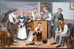 Litho Chromo Illustrateur Arthur Thiele Fin De La Partie De Bowling Jeu De Quilles  E.G.M.S 98  Voyagé Grupont Forrieres - Thiele, Arthur