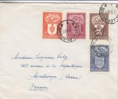 Armoiries - Nivelles - Charleroi - St Niklaas - St Truiden - Belgique - Lettre De 1948 ° - Oblitération Bruxelles - Lettres & Documents