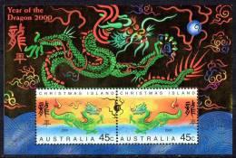 Christmas Island 2000 Year Of The Dragon Minisheet MNH - Christmas Island