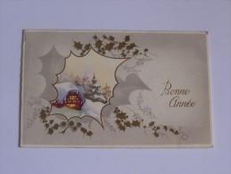 BONNE ANNEE  PETITE CARTE PLIANTE NEIGE  PAYSAGE  DANS  FENETRE FEUILLE DE HOUX  M.D PARIS - Neujahr