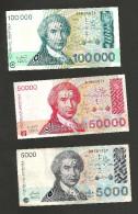 [NC] CROATIA - 5000 / 50000 / 100000 DINARA (1993) - LOT Of 3 DIFFERENT BANKNOTES - Croazia