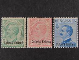 """ITALIA Eritrea-1908-09- """"Effigie"""" Cpl. 3 Val. MH*  (descrizione) - Eritrea"""