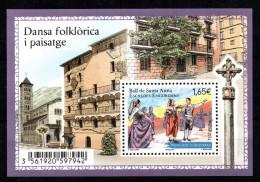 ANDORRE - BLOC-FEUILLET - DANSA FOLKLORICA I PAISATGE - DANSE FOLKLORIQUE - BALL DE SANTA ANNA - 2014 - 1,65 Euro - - Blocks & Kleinbögen