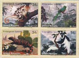 MNU-BK1-007a MDB MDA MDS ¤ UNITED NATIONS 2001 4w In Serie ¤ ENDANGERED SPECIES Of The WORLD BIRDS REPTILS  MONKEYS - Postzegels