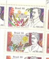 BRESIL BRASIL BRAZIL  YVERT NRS. 1888-89 LITERATURE BRESILIENNE  ATENEU DE RAUL POMPEIA POESIAS DE OLAVO BILAC