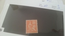 LOT 217062 TIMBRE DE FRANCE NEUF* N�117
