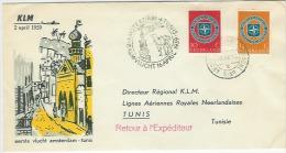 Luchtpost/Airmail 1e KLM Vlucht Amsterdam-Tunis   2 April 1959 - Poststempels/ Marcofilie