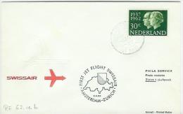 Luchtpost/Airmail SWISSAIR First Jet Flight Amsterdam Zurich  2.4.62 - Poststempels/ Marcofilie