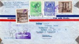 BOLIVIEN 1950 - 4 Fach Frankierung Auf LP-RECO-Brief Gel.v. Catavi Bolivia > Ungarn - Bolivien