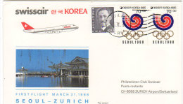 Seoul Zurich 1986 - Corée Korea Par Swissair - Erstflug Inaugural Flight 1er Vol - Suisse - Korea (Süd-)