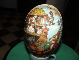 OEUF DE PAQUES FORMAT BOITE  Papier Maché Lithographié  15cmx9,5cm  *Poules *Lapin *Oeufs  EASTER EGG - Eggs