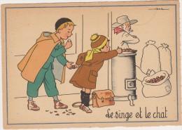 Cpsm  Fable De La Fontaine   Jack   Le Singe Et Le Chat   Marrons Chauds,cartable,pipe,capeline - Andere Zeichner