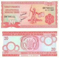 Burundi P27d, 20 Francs, Tribal Dancer With Spear / Arms, 2007 - Burundi