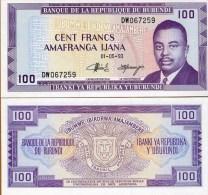 Burundi P29c, 100 Francs, Prince Rwagasore / Arms , 1993 - Burundi