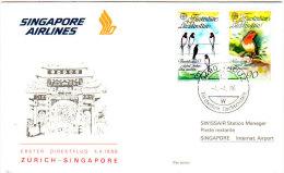 Vaduz Zurich Singapour 1986 - Singapore Airlines - Erstflug Inaugural Flight 1er Vol - Suisse Liechtenstein - Singapour (1959-...)
