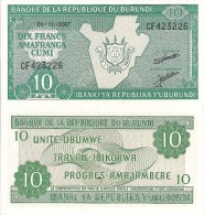Burundi P33b, 10 Francs, Map Of Burundi, Arms - Burundi