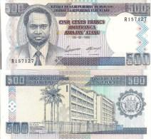 Burundi P37A, 500 Francs, President / Central Bank Building $7+CV!! - Burundi