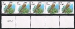 Année 2000 - R96a** -  16F Pie Grièche écorcheur - Bande De Cinq Avec Numéro Au Verso (4 Chiffres) -  Cote 20,00€ - Coil Stamps
