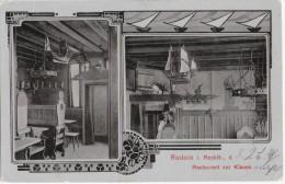 ROSTOCK Restaurant Zur Klause Innen Katze Auf Dem Kamin Sims Seemännisch Rustikal 3.10.1911 Gelaufen - Rostock