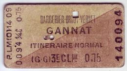 03 ALLIER - Gannat. Ancien ticket de transport PLM -