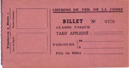 Chemins de fer de la Corse. Ancien billet -