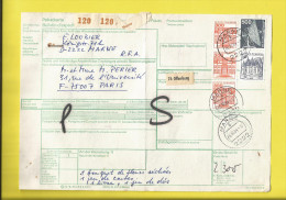 ALLEMAGNE Bulletin D´Expédition De COLIS POSTAL PAR AVION Affranchi De 5 Timbres De 2222 MARNE Pour PARIS  26 10 84 - Briefe U. Dokumente