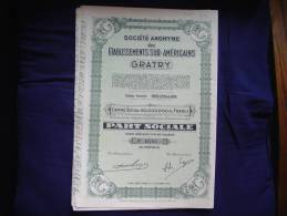 """S.A Des Etabissements Sud Américains """"GRATRY""""1956. Siège Social Bruxelles (industrie Textile). - Textile"""