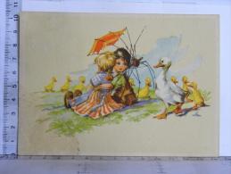 """CP Illustrateur """"SA?"""" Style Germaine BOURET  - Humour Enfants Assis Sous Une Ombrelle Mangée Par Les Canards - Illustrators & Photographers"""